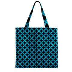 Circles3 Black Marble & Turquoise Marble Zipper Grocery Tote Bag