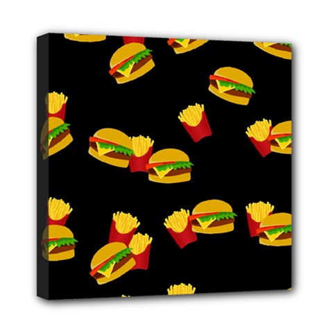 Hamburgers And French Fries Pattern Mini Canvas 8  X 8  by Valentinaart