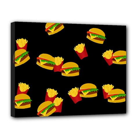 Hamburgers And French Fries Pattern Canvas 14  X 11  by Valentinaart