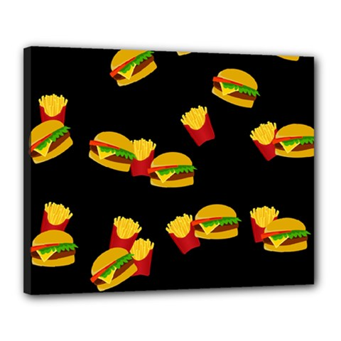 Hamburgers And French Fries Pattern Canvas 20  X 16  by Valentinaart