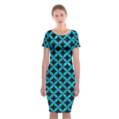 Circles3 Black Marble & Turquoise Marble Classic Short Sleeve Midi Dress