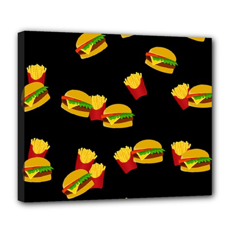 Hamburgers And French Fries Pattern Deluxe Canvas 24  X 20   by Valentinaart