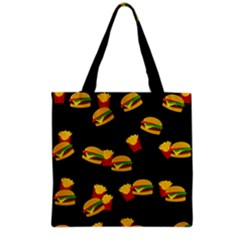Hamburgers And French Fries Pattern Grocery Tote Bag by Valentinaart