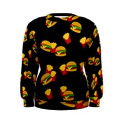 Hamburgers And French Fries Pattern Women s Sweatshirt by Valentinaart