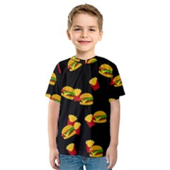 Hamburgers And French Fries Pattern Kids  Sport Mesh Tee by Valentinaart
