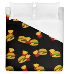 Hamburgers And French Fries Pattern Duvet Cover (queen Size) by Valentinaart