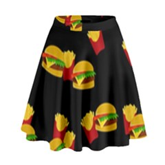 Hamburgers And French Fries Pattern High Waist Skirt by Valentinaart