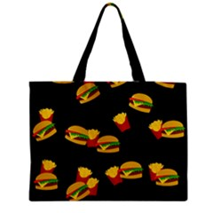 Hamburgers And French Fries Pattern Medium Zipper Tote Bag by Valentinaart