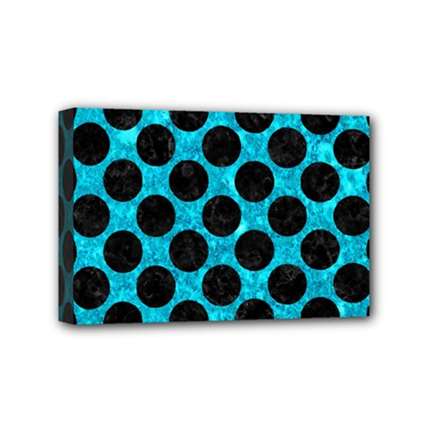 Circles2 Black Marble & Turquoise Marble (r) Mini Canvas 6  X 4  (stretched) by trendistuff