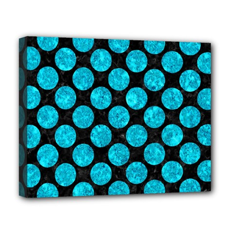 Circles2 Black Marble & Turquoise Marble Deluxe Canvas 20  X 16  (stretched) by trendistuff