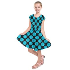 Circles2 Black Marble & Turquoise Marble Kids  Short Sleeve Dress