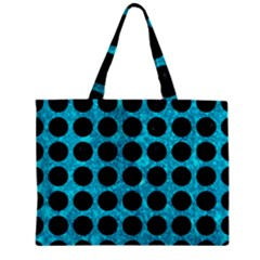 Circles1 Black Marble & Turquoise Marble (r) Zipper Mini Tote Bag
