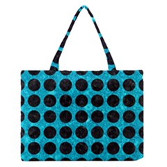 Circles1 Black Marble & Turquoise Marble (r) Medium Zipper Tote Bag by trendistuff