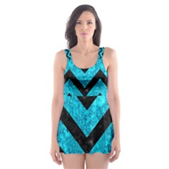 Chevron9 Black Marble & Turquoise Marble (r) Skater Dress Swimsuit by trendistuff
