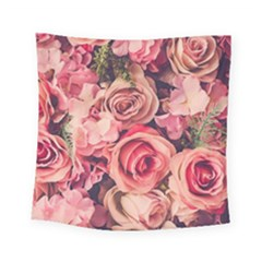 Beautiful Pink Roses Square Tapestry (small) by Brittlevirginclothing