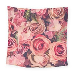 Beautiful Pink Roses Square Tapestry (large) by Brittlevirginclothing