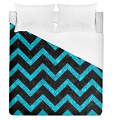 Chevron9 Black Marble & Turquoise Marble Duvet Cover (queen Size) by trendistuff
