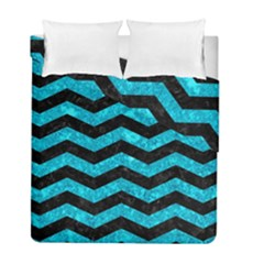Chevron3 Black Marble & Turquoise Marble Duvet Cover Double Side (full/ Double Size) by trendistuff