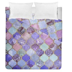 Blue Moroccan Mosaic Duvet Cover Double Side (queen Size) by Brittlevirginclothing