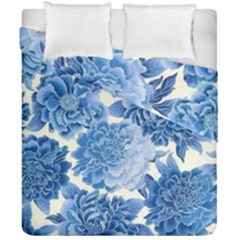 Blue Flower Duvet Cover Double Side (california King Size) by Brittlevirginclothing