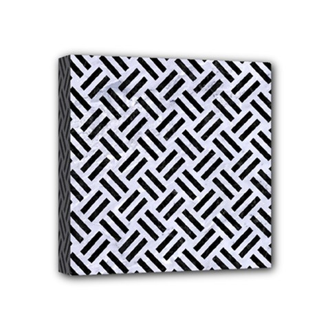 Woven2 Black Marble & White Marble (r) Mini Canvas 4  X 4  (stretched) by trendistuff