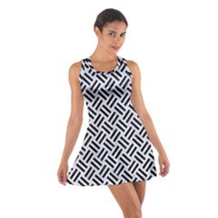 Woven2 Black Marble & White Marble (r) Cotton Racerback Dress by trendistuff