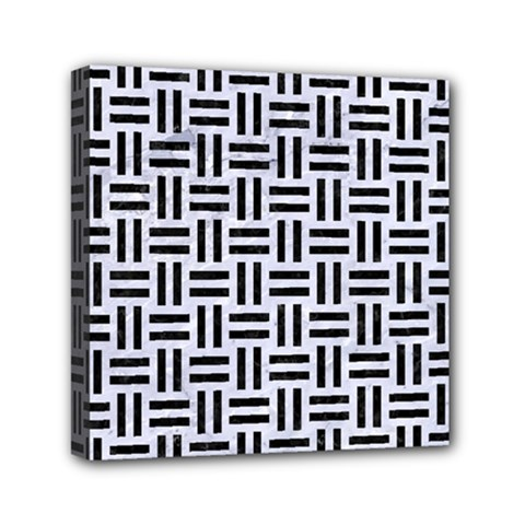 Woven1 Black Marble & White Marble (r) Mini Canvas 6  X 6  (stretched) by trendistuff
