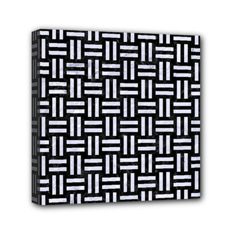 Woven1 Black Marble & White Marble Mini Canvas 6  X 6  (stretched) by trendistuff