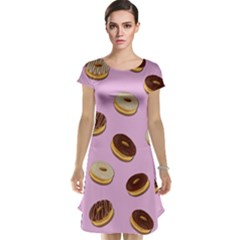 Donuts Pattern   Pink Cap Sleeve Nightdress