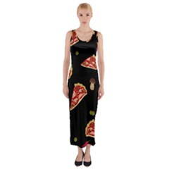 Pizza Slice Patter Fitted Maxi Dress by Valentinaart