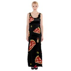 Pizza Slice Patter Maxi Thigh Split Dress by Valentinaart