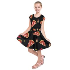Pizza Slice Patter Kids  Short Sleeve Dress by Valentinaart