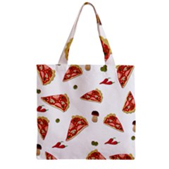 Pizza Pattern Zipper Grocery Tote Bag by Valentinaart