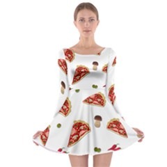 Pizza Pattern Long Sleeve Skater Dress by Valentinaart