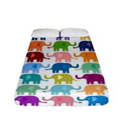 Cute Colorful Elephants Fitted Sheet (full/ Double Size) by Brittlevirginclothing