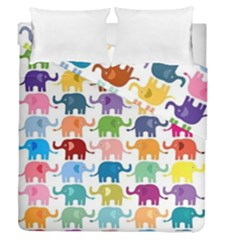 Cute Colorful Elephants Duvet Cover Double Side (queen Size) by Brittlevirginclothing
