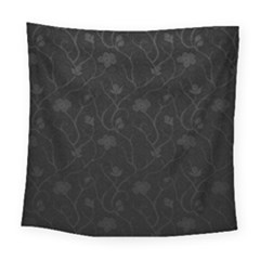 Dark Silvered Flower Square Tapestry (large) by Brittlevirginclothing