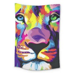 Colorful Lion Large Tapestry by Brittlevirginclothing