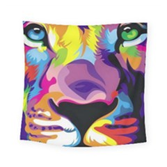 Colorful Lion Square Tapestry (small) by Brittlevirginclothing