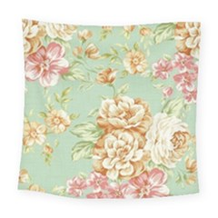 Vintage Pastel Flower Square Tapestry (large) by Brittlevirginclothing