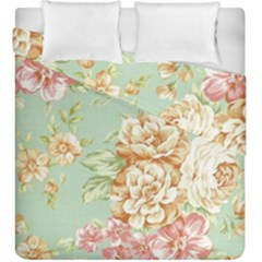 Vintage Pastel Flower Duvet Cover Double Side (king Size) by Brittlevirginclothing