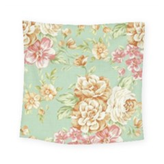 Vintage Pastel Flower Square Tapestry (small) by Brittlevirginclothing