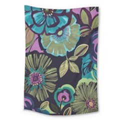 Dark Lila Flower Large Tapestry by Brittlevirginclothing