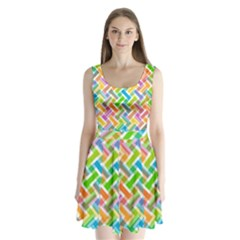 Abstract Pattern Colorful Wallpaper Split Back Mini Dress  by Amaryn4rt