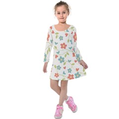 Abstract Vintage Flower Floral Pattern Kids  Long Sleeve Velvet Dress by Amaryn4rt