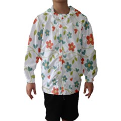 Abstract Vintage Flower Floral Pattern Hooded Wind Breaker (kids) by Amaryn4rt