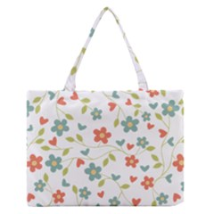 Abstract Vintage Flower Floral Pattern Medium Zipper Tote Bag by Amaryn4rt