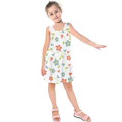 Abstract Vintage Flower Floral Pattern Kids  Sleeveless Dress by Amaryn4rt