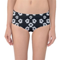 Dark Floral Mid Waist Bikini Bottoms by dflcprintsclothing