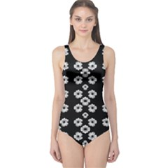 Dark Floral One Piece Swimsuit by dflcprintsclothing